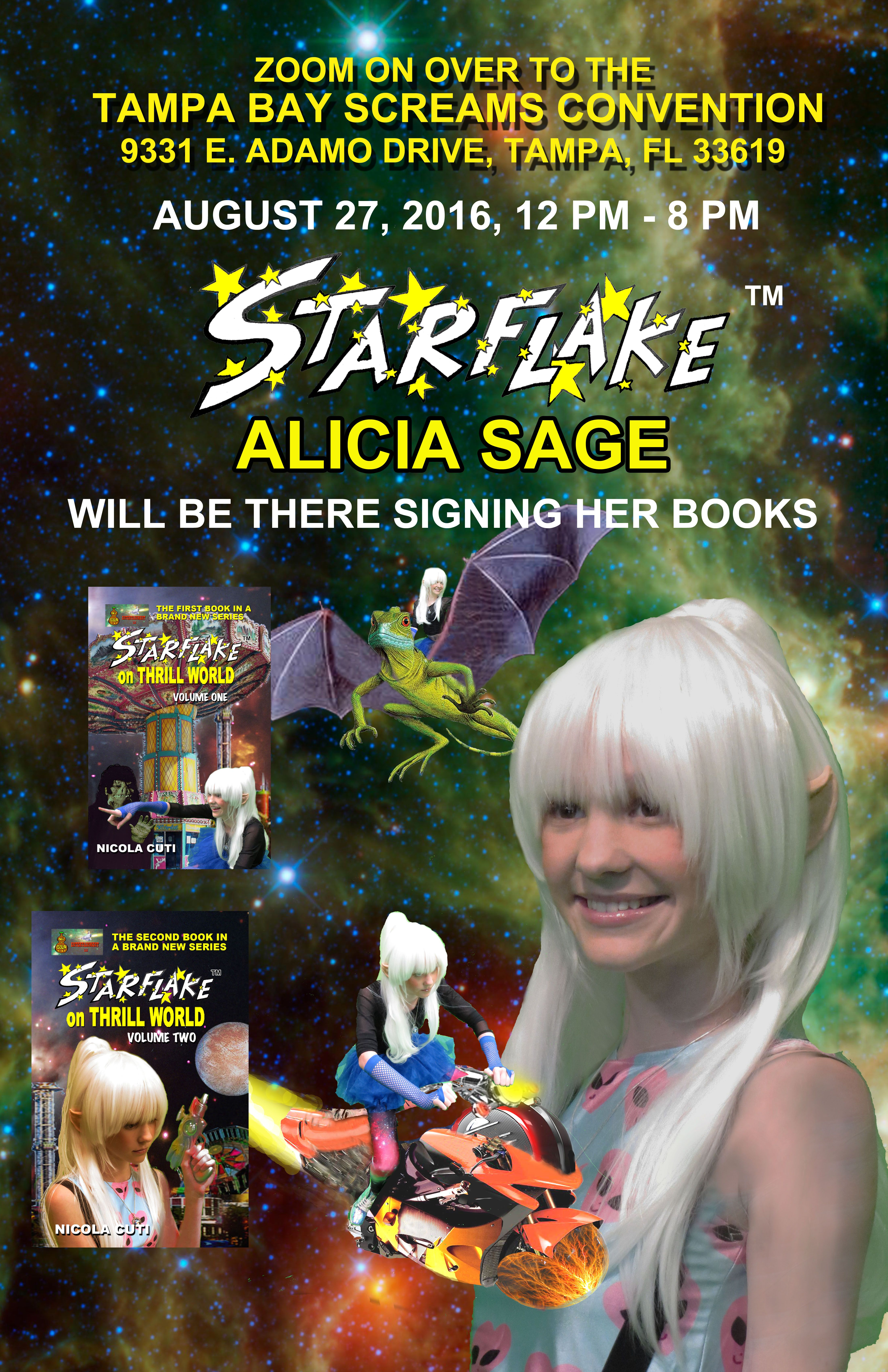 Alicia Sage as #Starflake appearing at the Tampa Bay Scream Convention Aug 27th