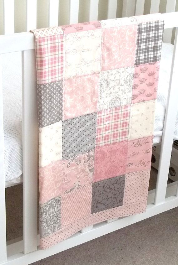 Modern Patchwork Baby Blanket (Pink Girl) Infant Crib Blanket w/Puttin on the Ritz by Bunny Hill for Moda