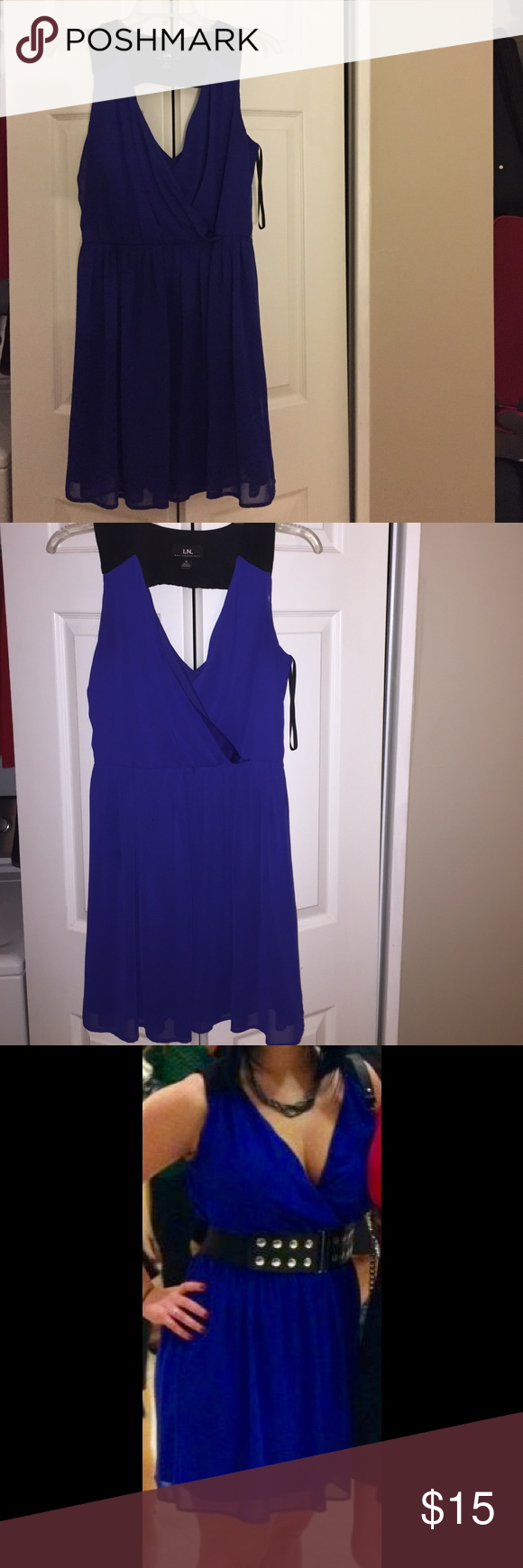 Cocktail dress size medium Pretty royal blue cocktail dress to wear for any special occasion (belt in photos not included). Very flattering on the bust and waist. Offers welcome! Dresses