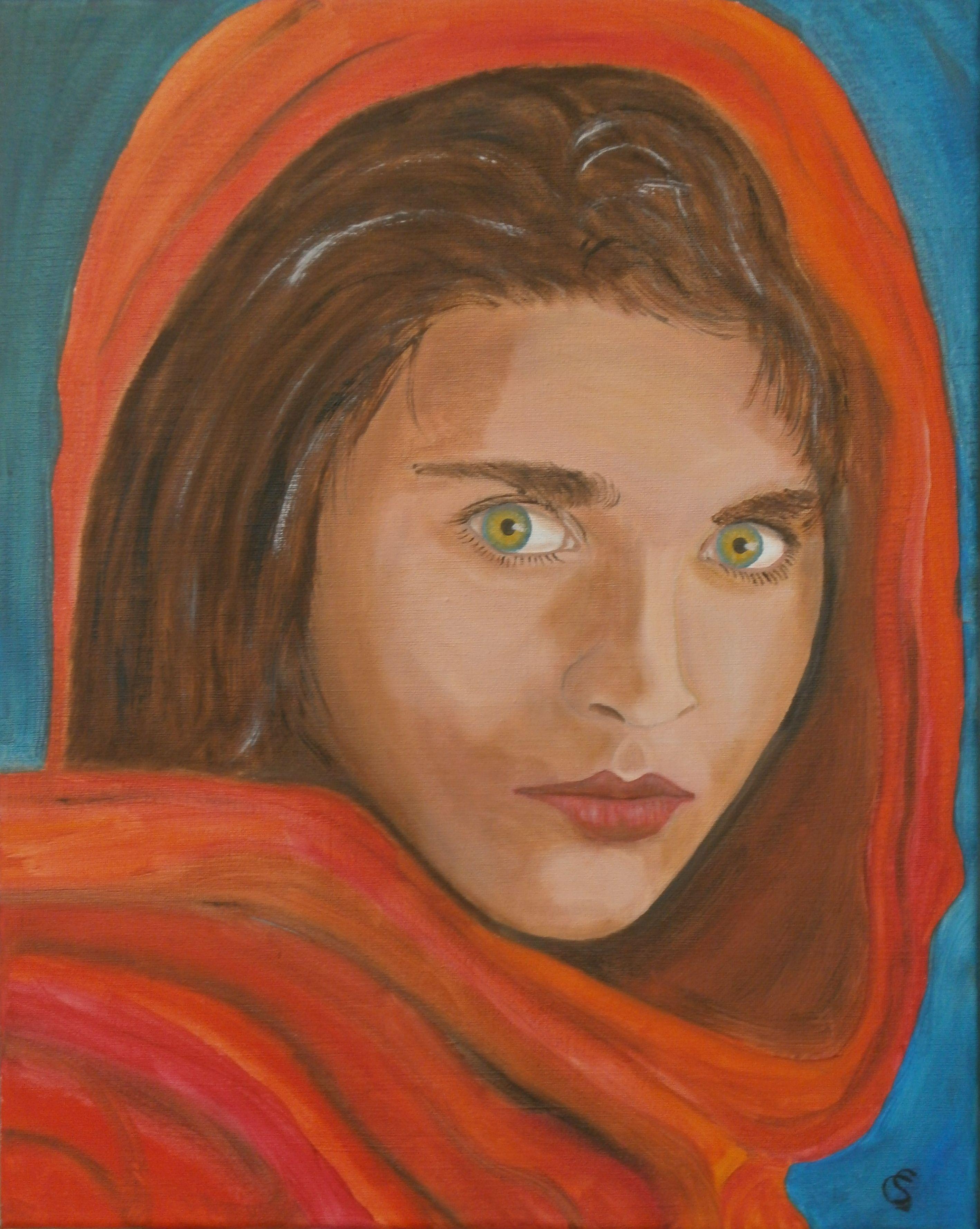 Sharbat Gula op 13 jarige leeftijd.  olieverf 50x40cm
