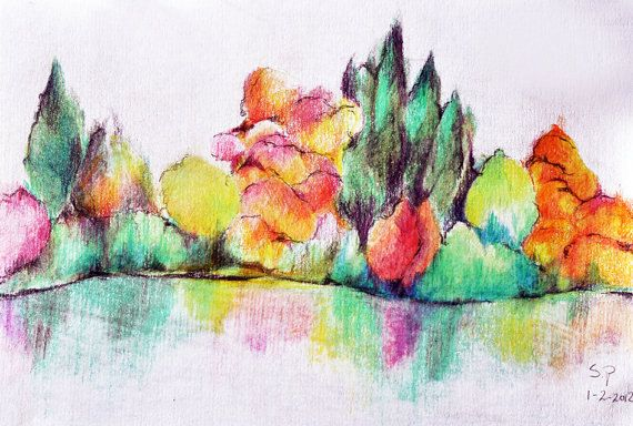 Original Colored Pencil Drawing 55 X 8 Inch Abstract Landscape Rainbow