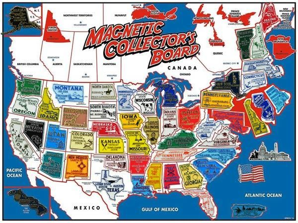 State Magnets Usa Map Collector S Board 52 Magnets In 2019 Rv