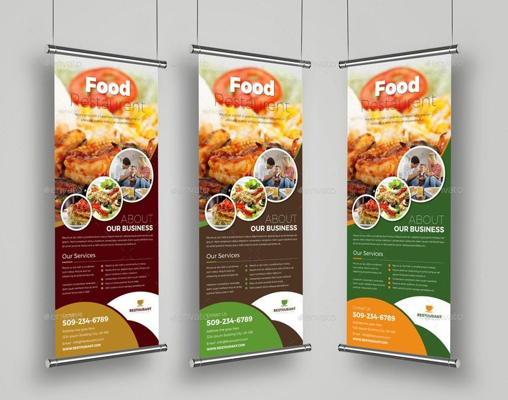 Food Restaurant Roll Up Banner Signage Template #Roll, #Restaurant, #Food, #Temp...