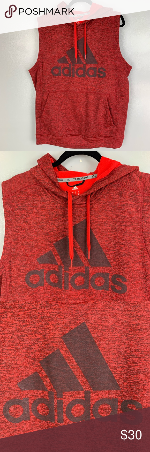 Adidas team issue sleeveless hoodie sweatshirt (With images