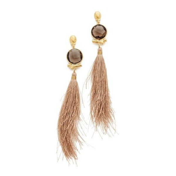 GAS Bijoux Serti Bella Pompon Earrings (11.015 RUB) ❤ liked on Polyvore featuring jewelry, earrings, brown, gas bijoux, sparkly earrings, 24 karat gold jewelry, fringe tassel earrings and 24k earrings