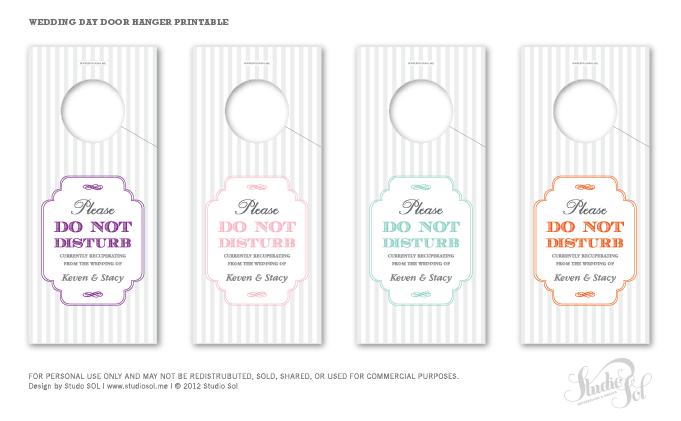 Studio Sol Invitations And Design Dubai Friday Freebie Door - Wedding door hangers template
