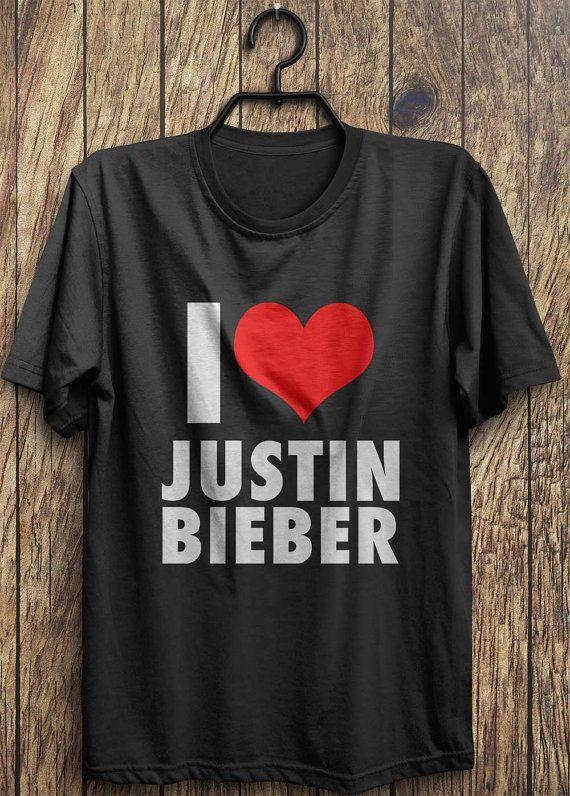 I LOVE JB Justin Bieber T-Shirt Concert Pop Hip Hop Music Heart Belieber Tee