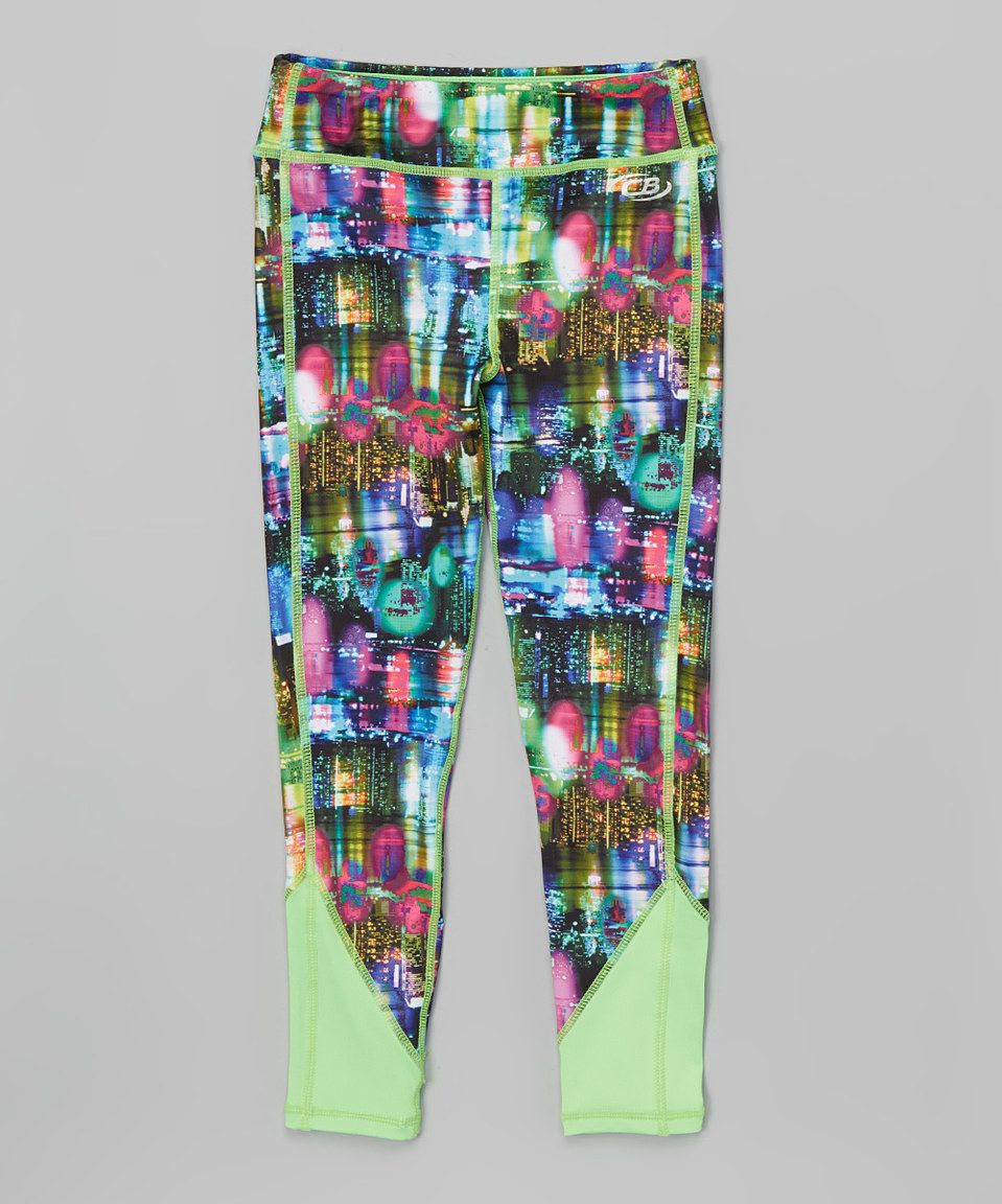 Loving this Green & Pink Abstract Leggings - Girls on #zulily! #zulilyfinds
