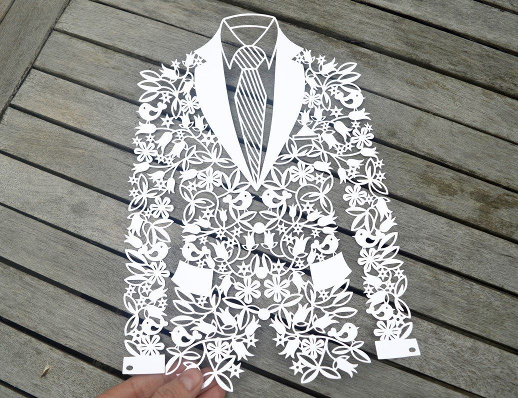 Groom Jacket paper cut SVG / DXF / EPS files and PDF / PNG printable ...