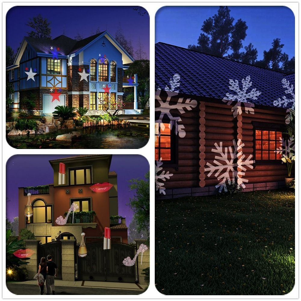 Outdoor lamps  Laser Projector Lamps LED Stage Light Santa Claus Heart Snow Spider