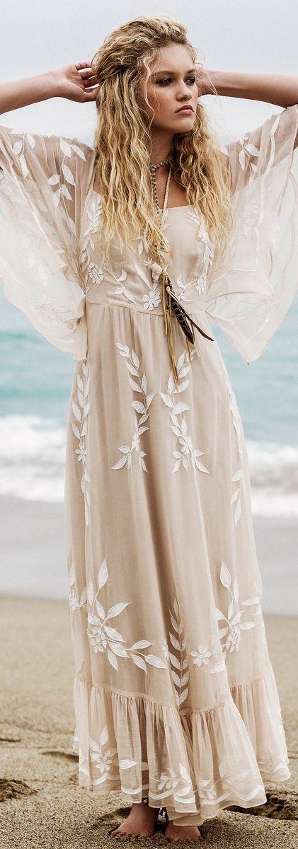 f5c1bb904852 nude tone maxi dress bohemian style inspiration | clothes | Hippie ...