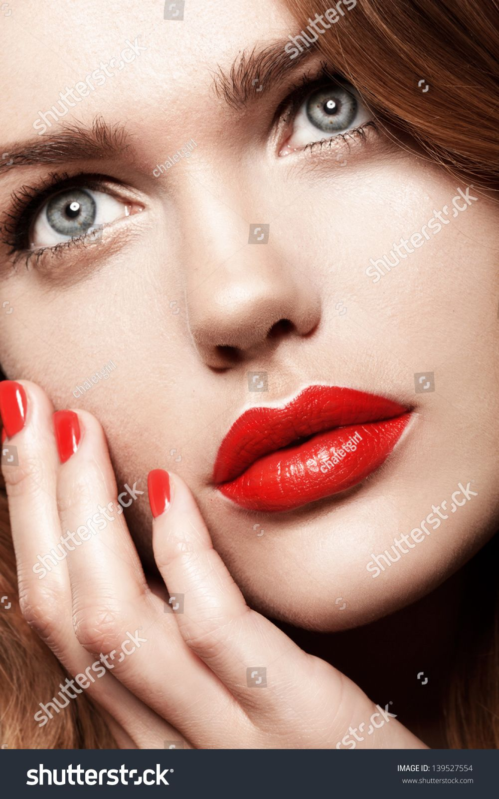 Beauty Woman With Perfect Makeup Red Lips And Nails Beautiful