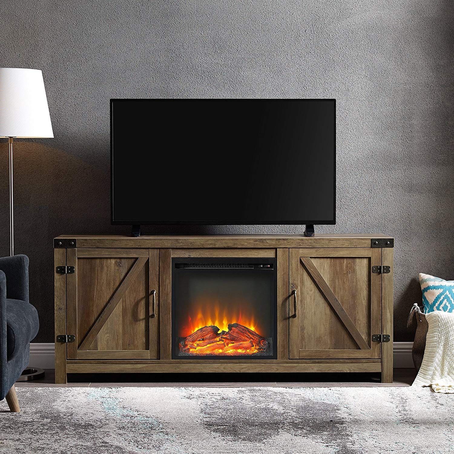 Amazon Com We Furniture Az58fpbdro Tv Stand Rustic Oak Kitchen Dining Fireplace Tv Farmhouse Tv Stand