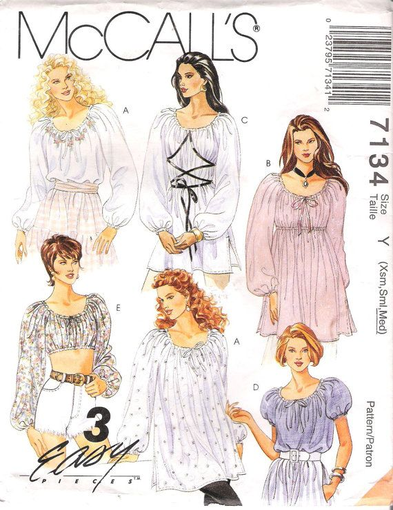 Peasant Blouse Midriff Top Or Chemise Sewing Pattern Mccalls 7134