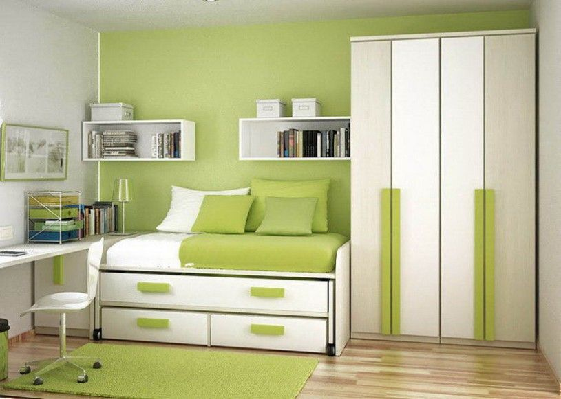 Green Color Small Bedroom cabinet designs | Projects to try ...