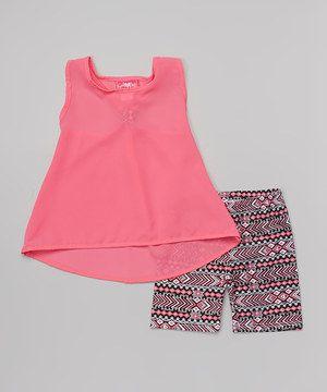 Fuchsia & Black Tank & Bike Shorts - Infant by Girls Luv Pink #zulily #zulilyfinds