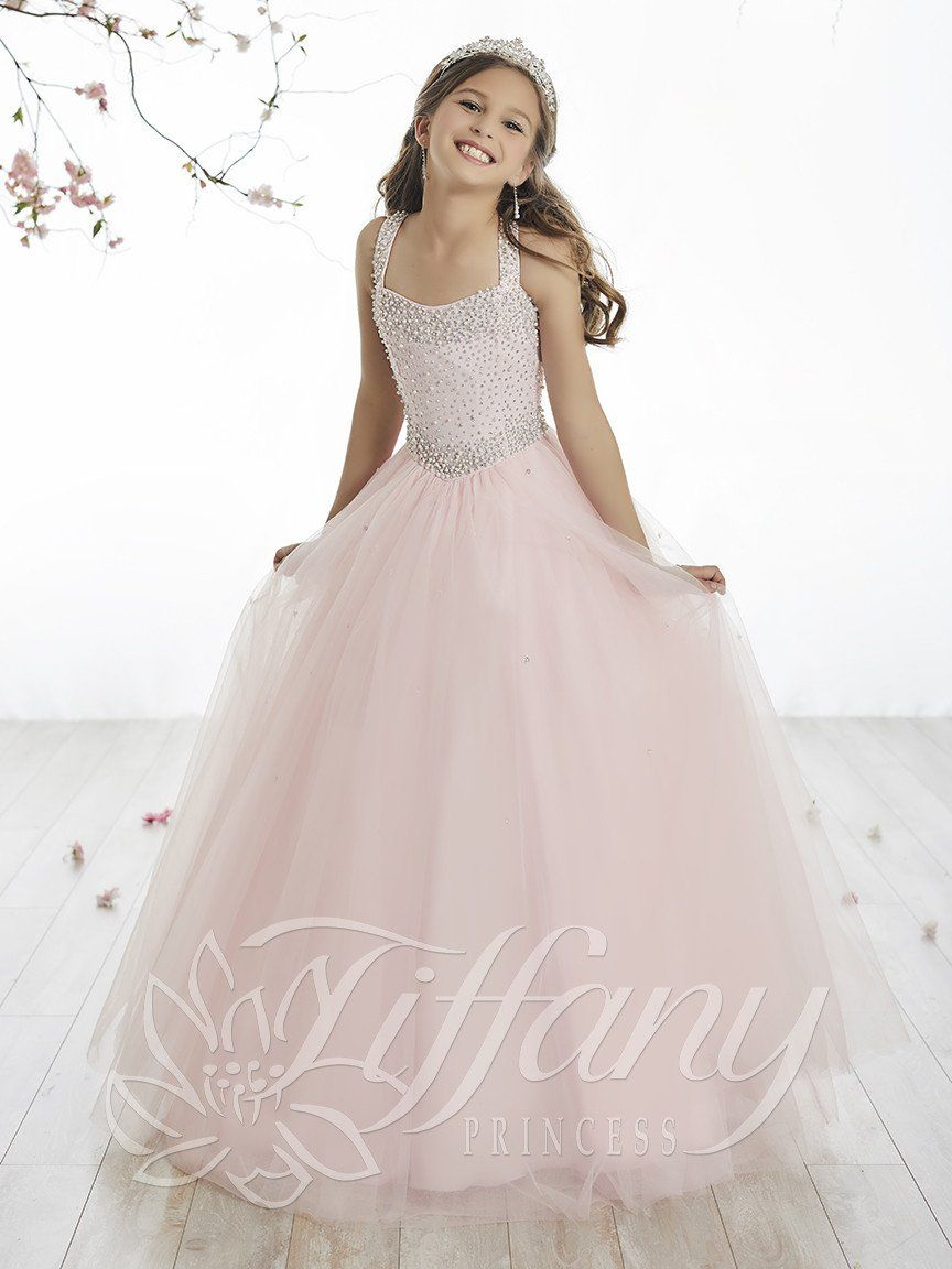 fcba34ba7 Tiffany Princess 13512 Pink Pearl Beaded Girl Pageant Dress