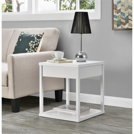 Ameriwood Parsons End Table With Drawer Black White End Tables With Drawers White End Tables End Tables