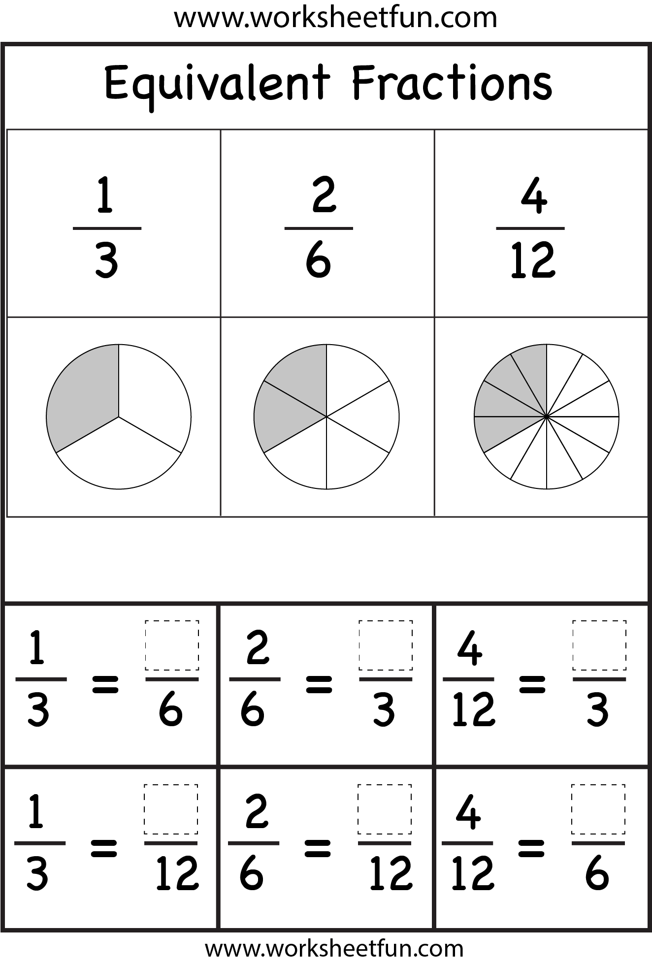 Equivalent Fractions – Two Worksheets   Fractions worksheets [ 1956 x 1324 Pixel ]