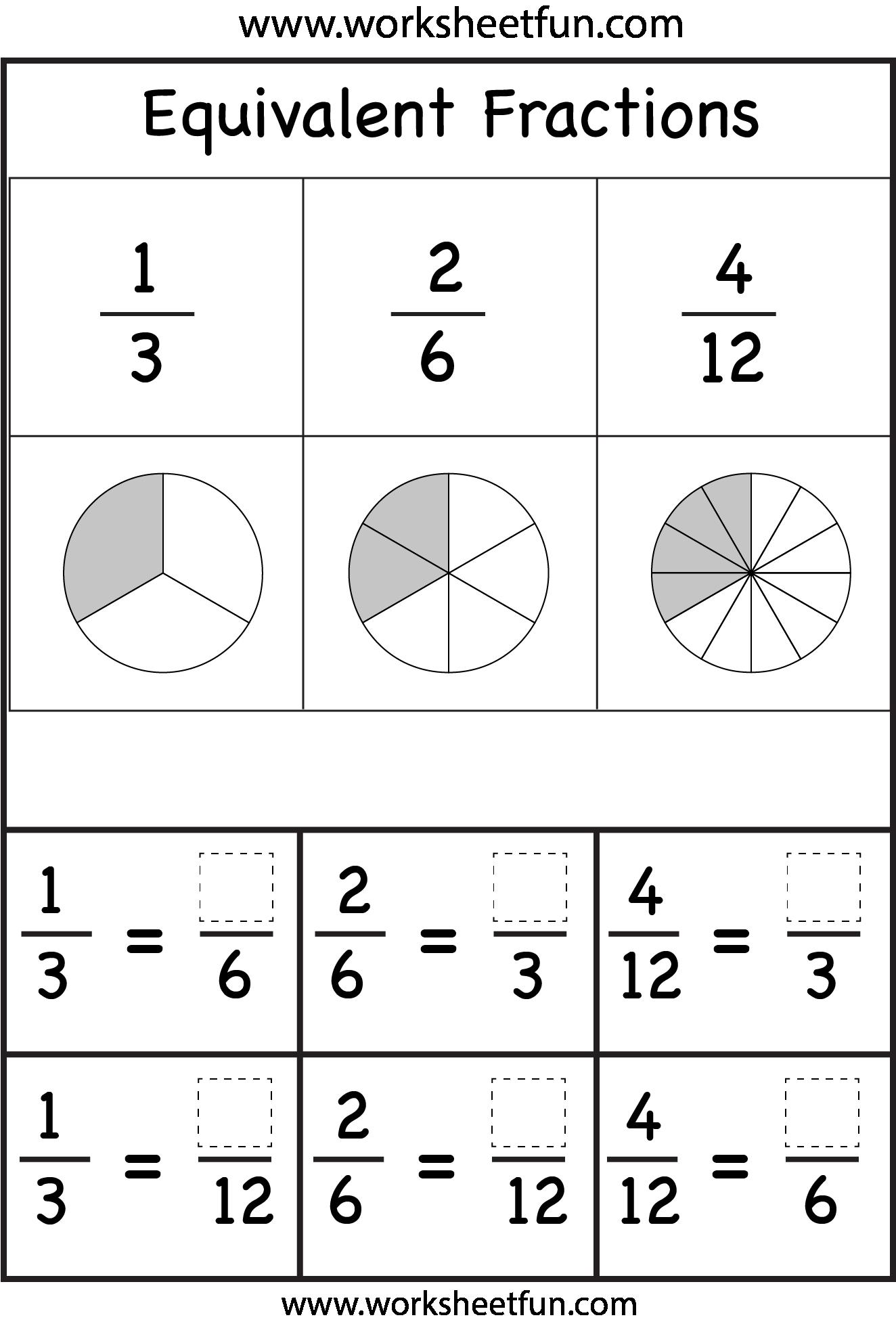 worksheet Teaching Equivalent Fractions Worksheets equivalent fractions worksheets printable pinterest worksheets