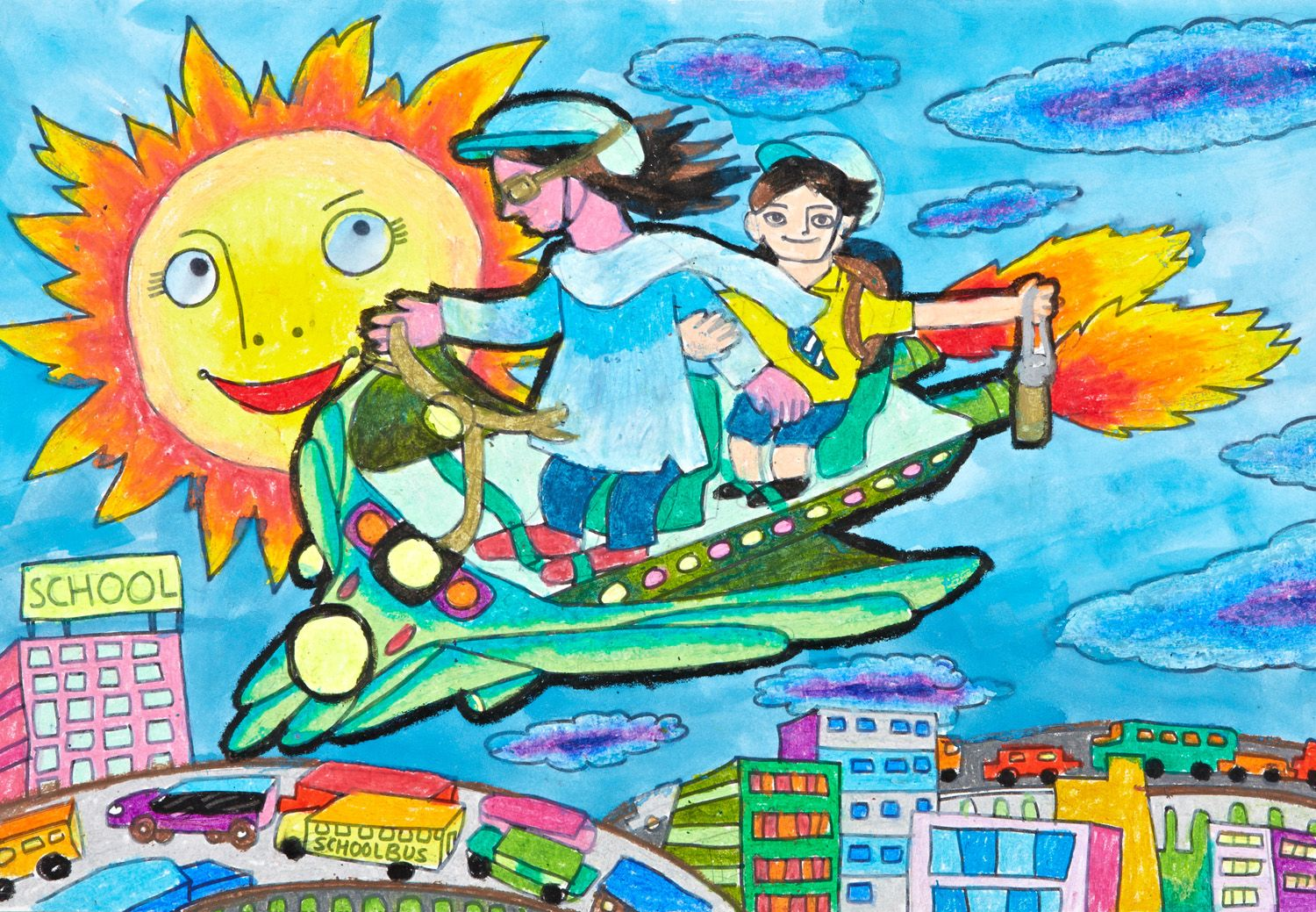 'Flying Car' by Advait Parag Chitnis, Aged 7, India: 3rd Contest, Bronze #KidsArt #ToyotaDreamCar