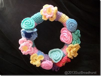 """Photo of Spring Flower Crochet Wreath  @Suzanne, with a """"z"""". Broadhurst"""