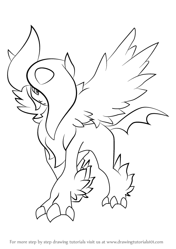 How To Draw Mega Absol From Pokemon Drawingtutorials101 Com Drawings Horse Coloring Pages Pokemon Drawings