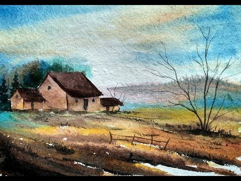 How To Paint A Simple Village Scene In Watercolour Paint With
