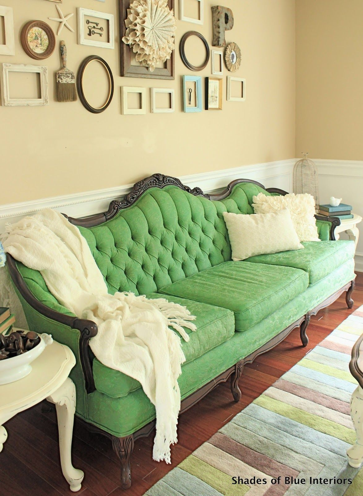 Shades of blue interiors makeover monday green painted sofa