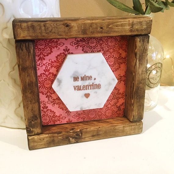 Wooden Sign 'Be Mine, Valentine' in Walnut Stained Farmhouse Frame. Free Shipping!