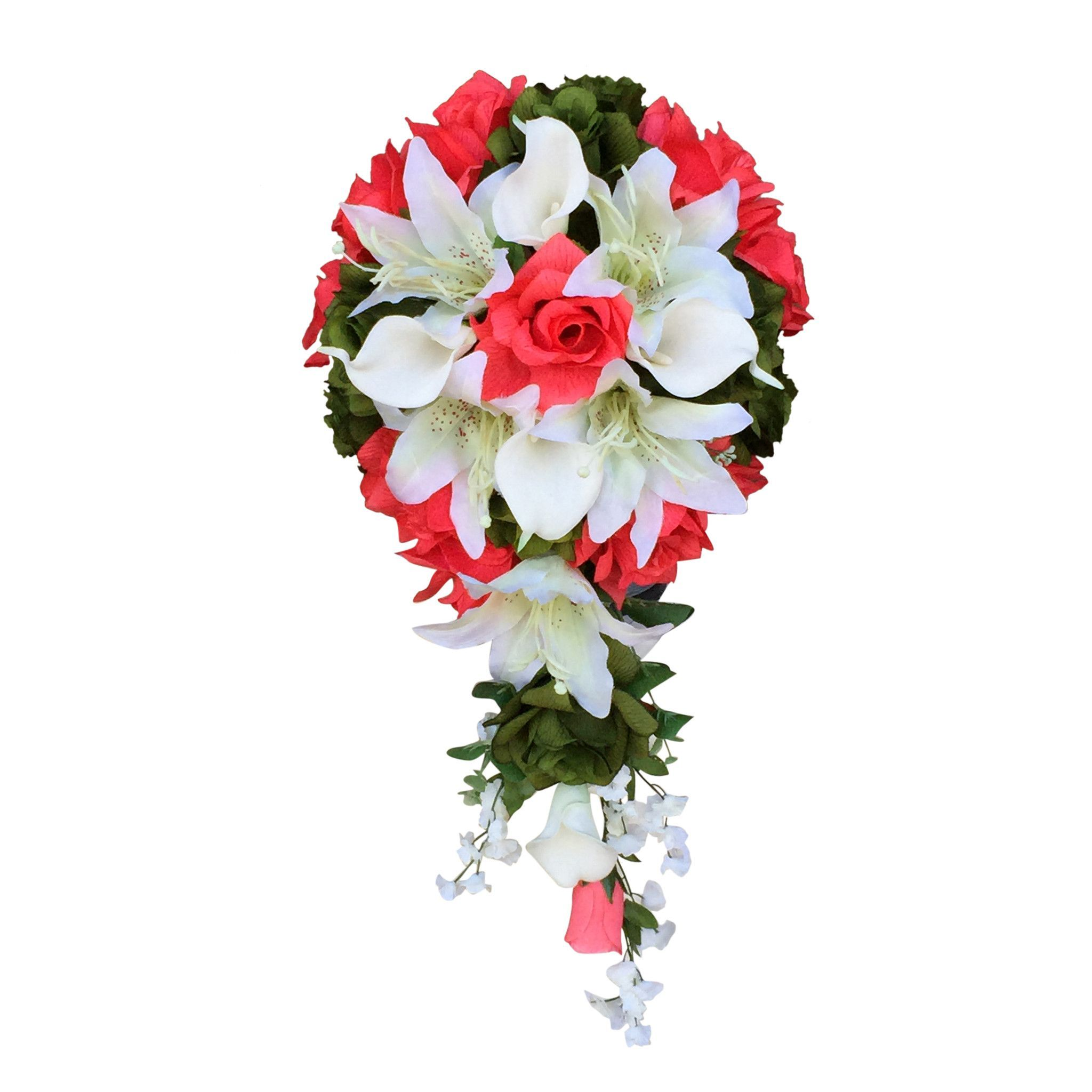 Cascade Bouquetcoral Roses With Lily And Calla Lily Artificial
