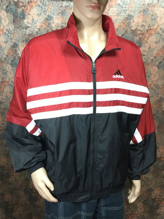 vintage ADIDAS track windbreaker jacket . redwhiteblue