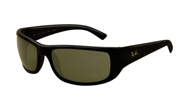672e1f170c4 Ray Ban RB4176 Sunglasses Shiny Black Frame Light Green Polarize ...