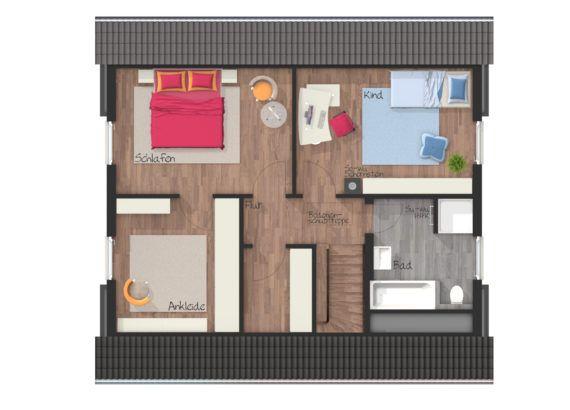Grundriss Einfamilienhaus Obergeschoss mit Satteldach, 4