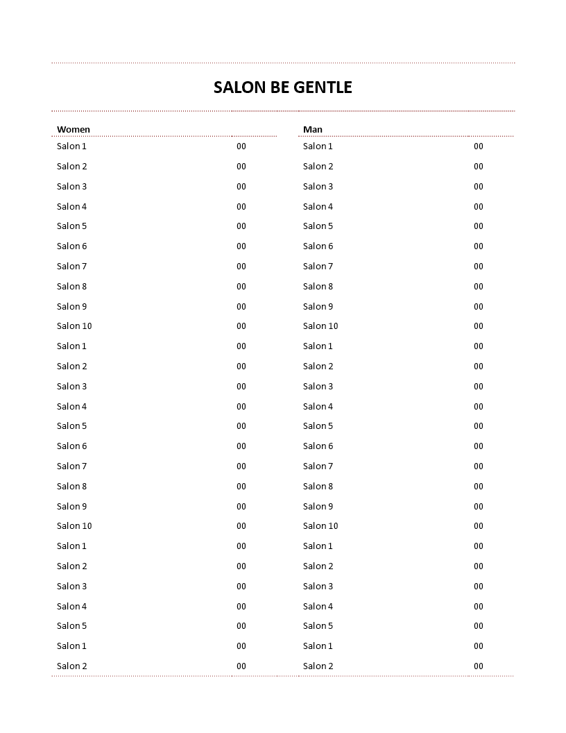 Hair Salon Price List Template Man And Women  Hair Salon Price