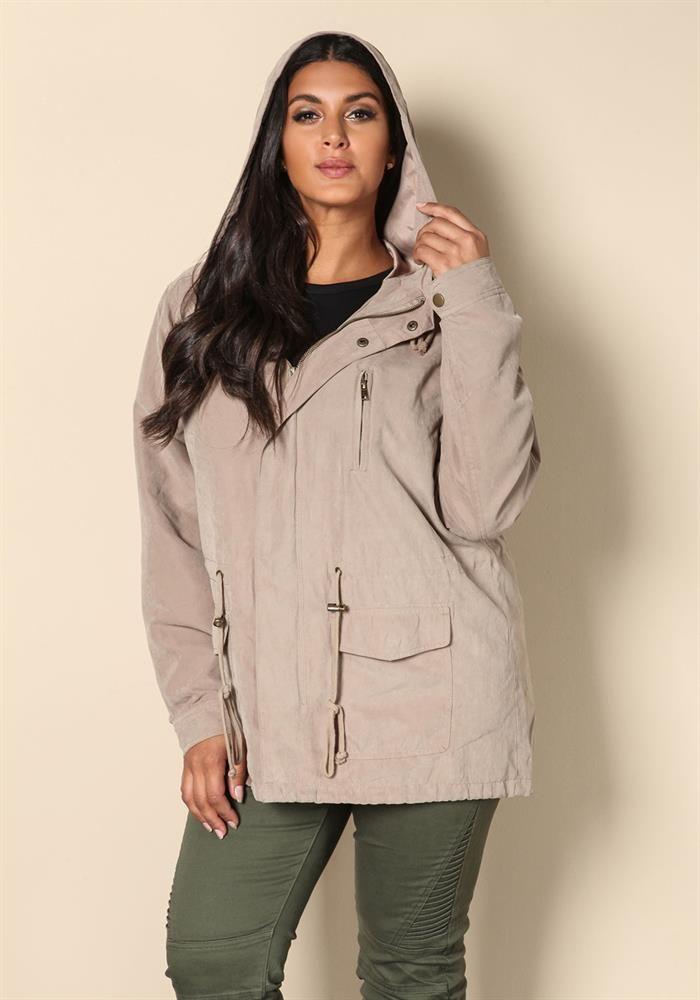 Plus Size Clothing | Plus Size Hooded Suedette Utility Jacket | www.Debshops.com