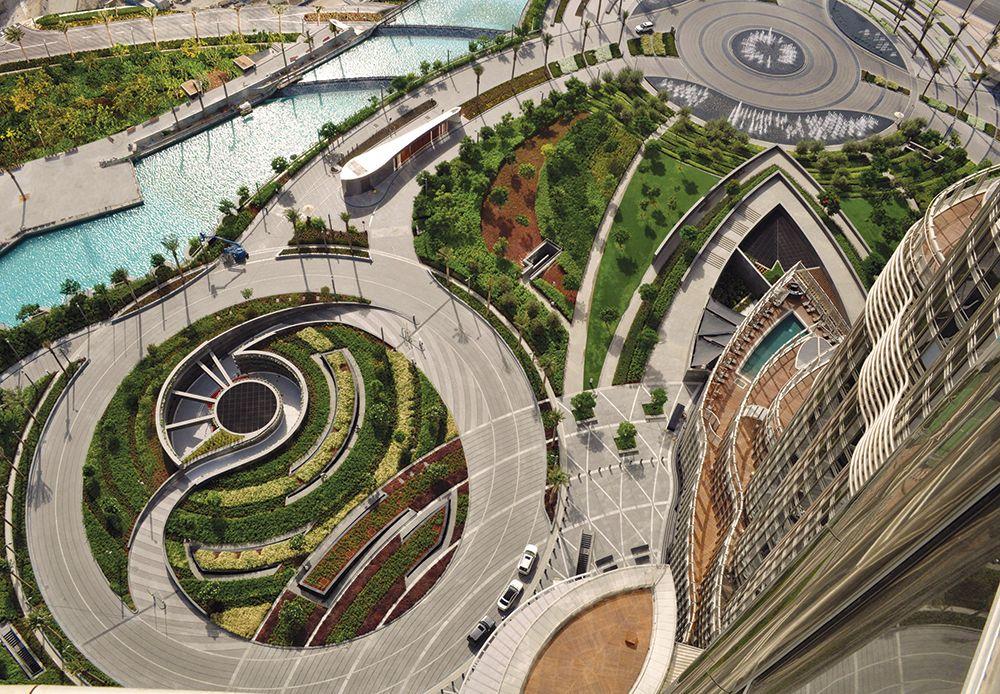 Burj Khalifa Park And Plaza Dubai | Architecture | Pinterest | Gardens Dubai And Terrace