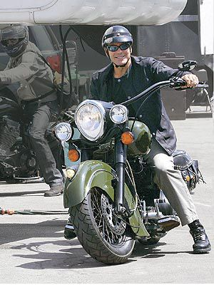 George Clooney, I have this motorcycle of his in my garage now. Its a blast to ride.