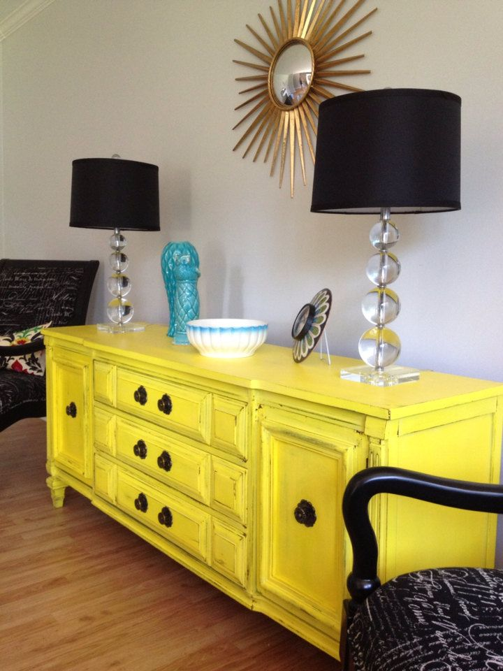 Sunny Yellow Vintage Sideboard Buffet Server By