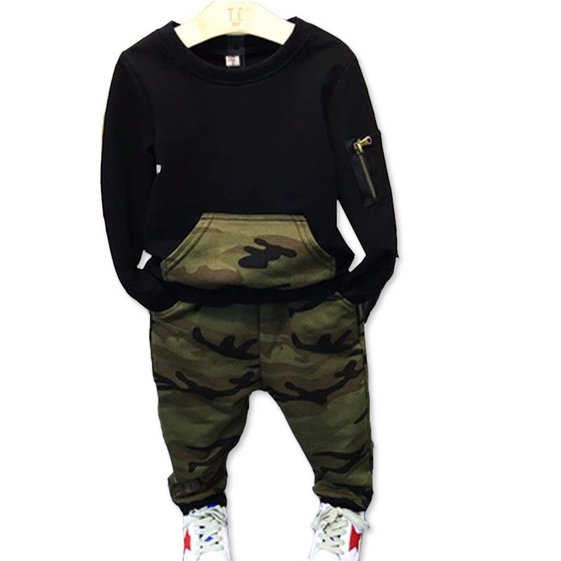 60705025a7e6 Fashion camouflage kids boys clothes set autumn toddler clothing 2pcs black  t shirt+pants boy sports suit leisure clothes                Click on the  pin to ...