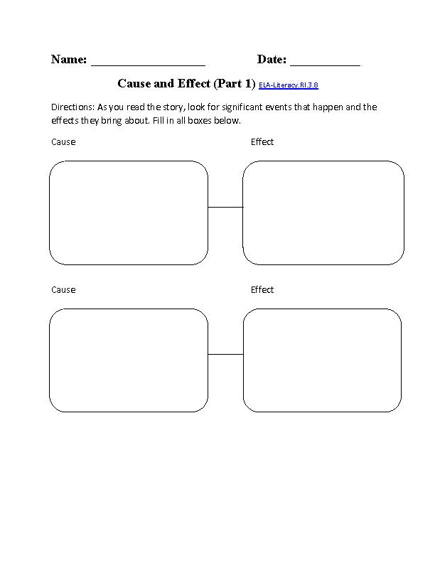 Cause And Effect Worksheet ELA Literacy RI 3 8 Reading