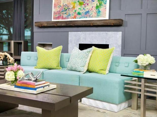 Farben Wohnzimmer Grau Wand Azurblaues Sofa Zitronengelbe ❤️Stil Fabrik❤️