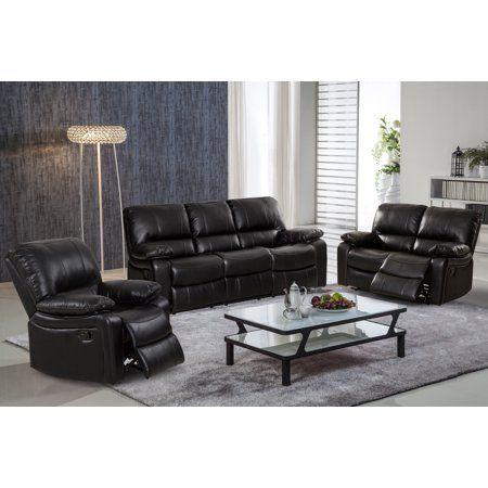Black Leather Gel Reclining Sofa Set