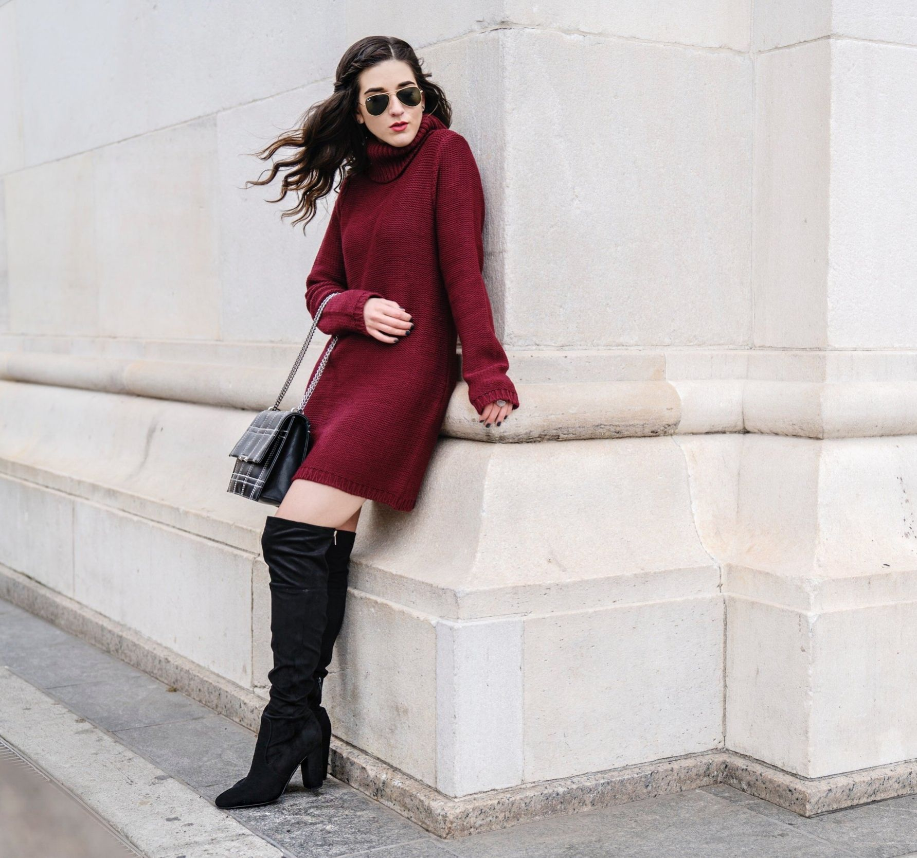 9296b371edc Maroon Sweater Dress + OTK Boots    My Biggest Blogging Mistake — Esther  Santer