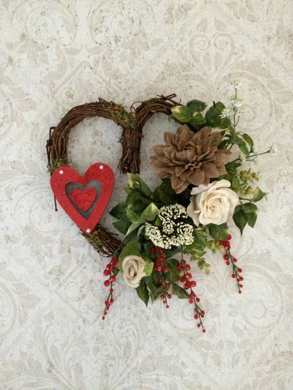 Valentines Day Wreath, Valentine Wreath, Red Heart Wreath, Valentine Door Decor…