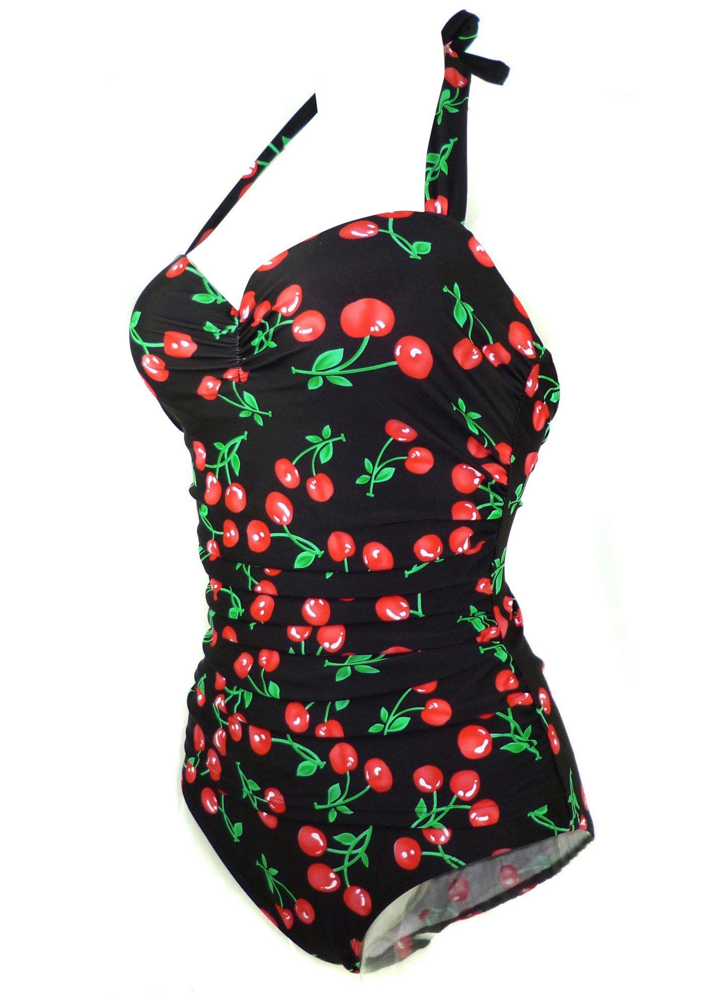 8c1750bca6 Amazon.com  Cocoship 50s Retro Vintage Flora Print White Polka One Piece  Swimwear Monokinis(FBA)  Clothing