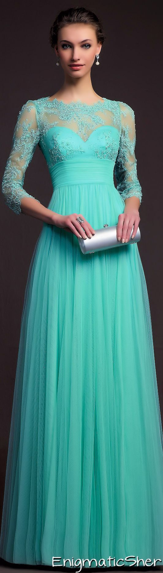 Turquoise Tulle Long Elegant Lace Evening Dress With Sleeves Prom ...