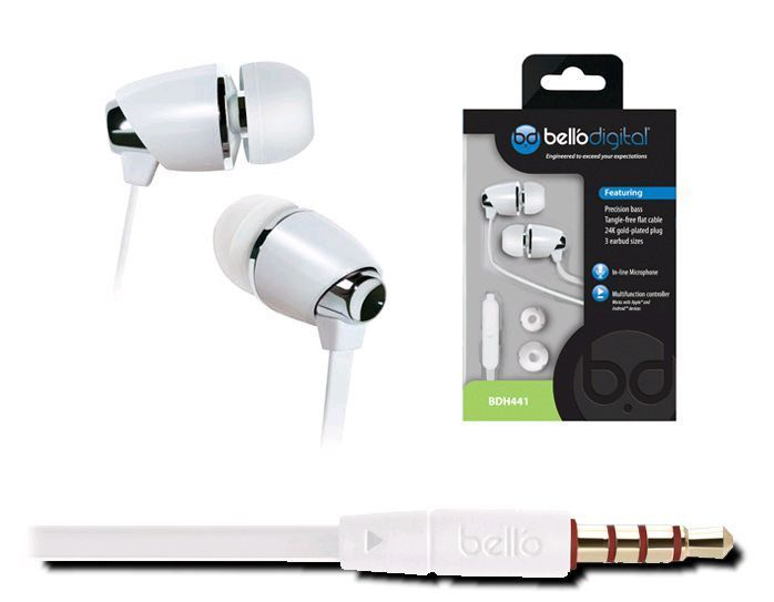 COLOR: WHITE In-Ear Headphones feature In-line microphone, Multifunction controller, Precision bass, Lightweight design using low mass metal & polymer construction, Premium flat cable engineered to be durable