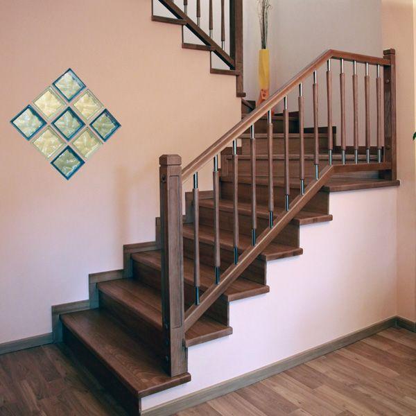 Barandillas de madera y acero inoxidable e07 600 - Barandillas escaleras modernas ...