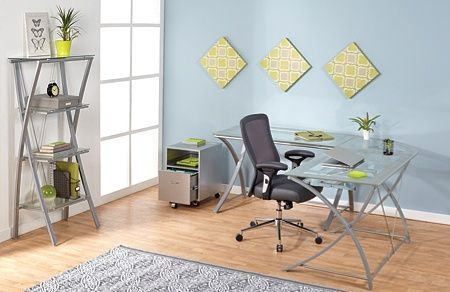 Realspace Zentra Computer Desk Silverclear By Office Depot Officemax Home Decor Room Desk